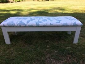 Hand Painted White Foorstool With Laura Ashley Fabric