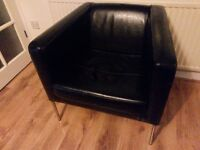 Black leather sofa bed and 2 armchairs