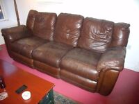 Reclining 3 piece leather suite