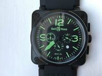 Bell and Ross style quartz watch in black with green dial etc - previously owned but never used