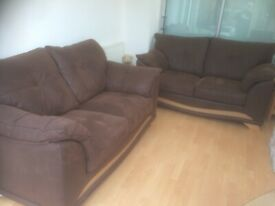 CAN DELIVER - 2 X BROWN SUEDE SOFA IN VERY GOOD CONDITION