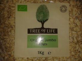 Tree Of Life Organic Jumbo Oats 1kg x 4 - unopened!
