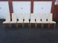 8 Cream Leather High Back Leather Chairs FREE DELIVERY 429