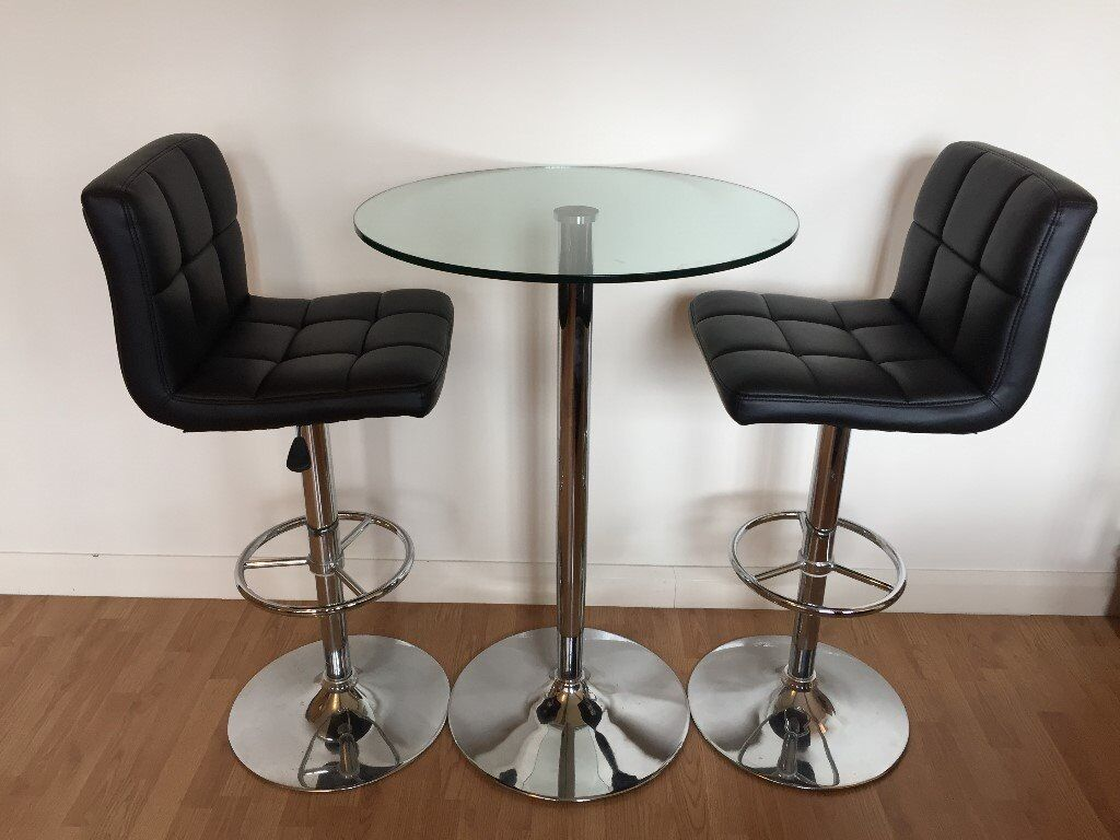 Table And Chairs Glass Bar Table And Two Black Leather