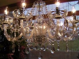 ~ABSOUTELY BEAUTIFUL~ Pure Lead Crystal chandelier VERY LARGE