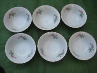 Set of Six China Cereal/Dessert Bowls for £5.00
