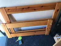 Pine single bed with clean mattress