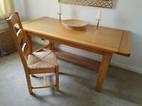 Solid Oak dining table, six chairs