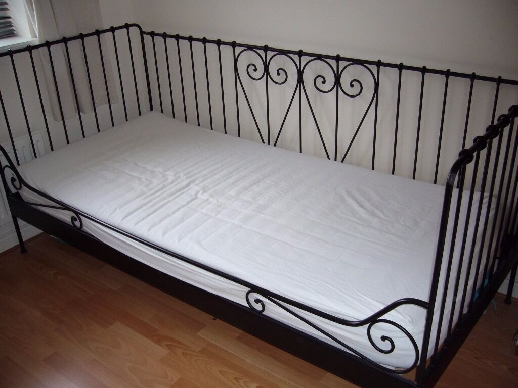 Ikea meldal black ornate metal single day bed with - Black days ikea ...