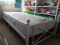 Single bed, white metal frame with comfy mattress