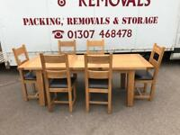Solid oak extending dining table & 6 chairs * free furniture delivery *