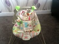 A vibrating baby bouncer which includes an owl toy.