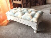 Antique look footstool with storage