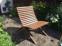 Unusual mahogany garden chairs x3