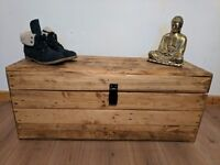 Rustic wooden trunk/chest storage/coffee table ottoman.Handmade/reclaimed/clamshell lid design.