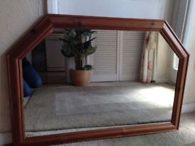 ANTIQUE PINE OVER MANTLE WALL MIRROR