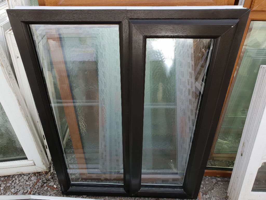 New Upvc Window Black On White 90cm W X 117cm H In Bridgend