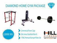 Diamond Home Gym Package - Olympic Bumper Plate Weights Squat Rack Power Cage Dumbell Bench