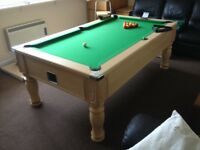 7'x4' Monarch pool table with accessories including wall mounted cue stand, 3 cues, balls, cover etc