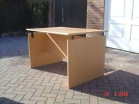Teak Veneered Office Desk / Table. Large Enough for Two People to Use. Can Deliver.