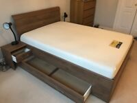 Wooden Storage Double Bed with built in side tables and memory foam mattress