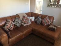 Tan leather corner sofa