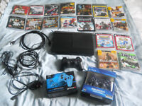 PS3 Super Slim 500gb Console + 18 Games & 3 Controllers - Near-New Condition - Perfect Xmas Gift!