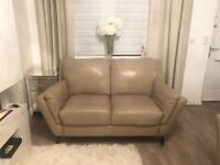 2x Sofology Beige Leather Sofas