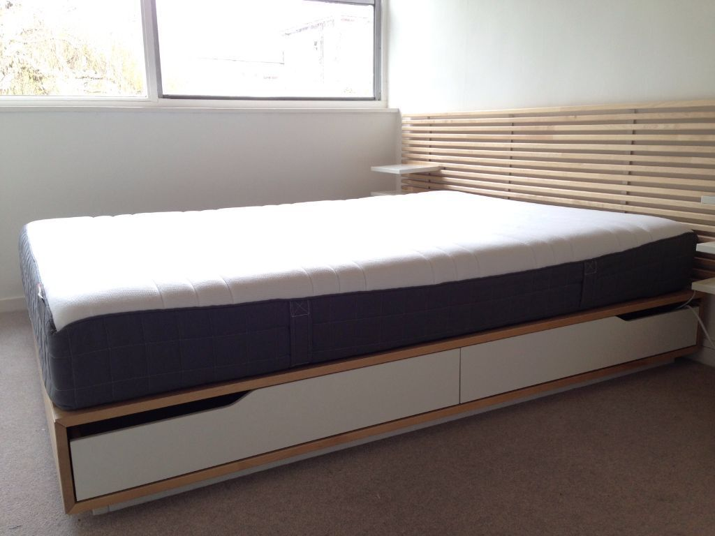 Ikea mandal bedframe 140 x 202 cm birch and white with for Double bed with drawers and mattress