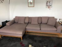 Modern 3 seat sofa with left hand chaise