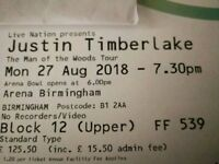 Justin Timberlake tickets x2 Arena Birmingham 27/08/18