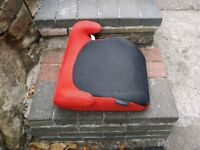 Booster seat, red and black, good, clean condition