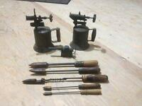 3 Antique brass & copper blow torches and soldering irons