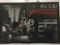 Framed Paris Cafe Scene Poster