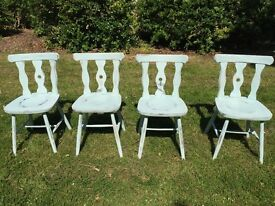 Four Oak dining chairs - duck egg blue shabby chic, vintage antiques, water resistant