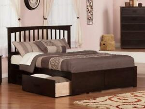 True Contemporary Fraser Mission Platform Bed with Storage Drawers in Stock in Canada!