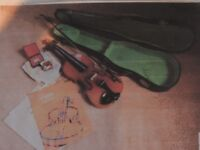 SECOND HAND VIOLIN WITH ACCESSORIES AND MUSIC FOR SALE - £30
