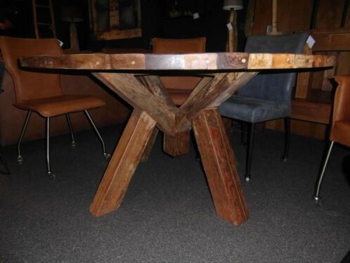 ≥ ronde tafel cm mix wood oud hout tafels eettafels