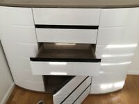 Sideboard cabinet high gloss white front, high quality with 2 Drawers