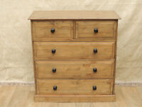 Chunky Welsh Pine Antique stained chest of drawers (Delivery)