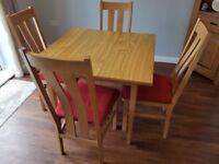 Solid Wood 4 Seater Dining Table Chairs