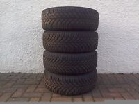 A Set of 4 Continental Winter Tyres on Steel Wheels.
