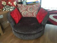 Large 5 seater sofa and swirl chair