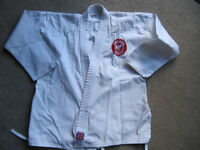 White Karate Jacket with SAMA Karate badge- size 1/140 - £4