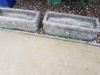 2 x concrete stone garden flower trough