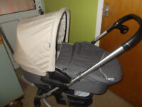 HAUK TRAVEL SYSTEM - CARRY COT/PUSHCHAIR/CAR SEAT/ WHITE SLEIGH BED COT & MATTRESS - CONINGSBY