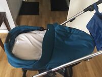 Mamas and papas Sola2 petrol blue carrycot - barely used and in excellent condition