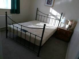 Double bed & mattress beautiful metal frame