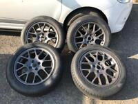 "4x100 16"" BBS style alloys in grey with nearly new 205 55 16 tyres. Mx5 micra golf mg zr golf"