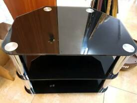 Tv stand black glass with chrome legs H50 W60cm D42cm